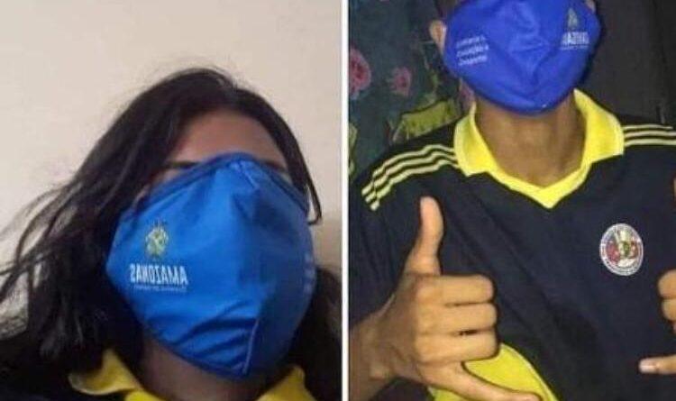 Amazonas: Alunos fazem memes com máscara gigante distribuída pelo governo